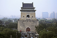 The Bell Tower (Gulou) one of the most ancient monument in Beijing, initially build during the Mongol dynasty (Yuan) in the thirteen century and rebuild later by the Ming dynasty. Seen from Zhonglou (Drum Tower) in the summer 2007.