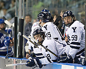 Kenny Agostino (Yale - 18), Chad Ziegler (Yale - 59) - The Yale University Bulldogs defeated the Air Force Academy Falcons 2-1 (OT) in their East Regional Semi-Final matchup on Friday, March 25, 2011, at Webster Bank Arena at Harbor Yard in Bridgeport, Connecticut.
