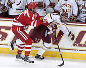 Patrick MacGregor (BU - 4), Kevin Hayes (BC - 12) - The Boston College Eagles defeated the visiting Boston University Terriers 6-4 (EN) on Friday, January 17, 2014, at Kelley Rink in Conte Forum in Chestnut Hill, Massachusetts.