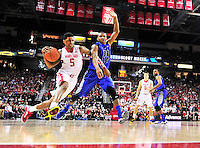 Nick Faust of the Terrapins drives the lane. Maryland defeated Duke 81-83 at the Comcast Center in College Park, MD on Saturday, February 16, 2013. Alan P. Santos/DC Sports Box
