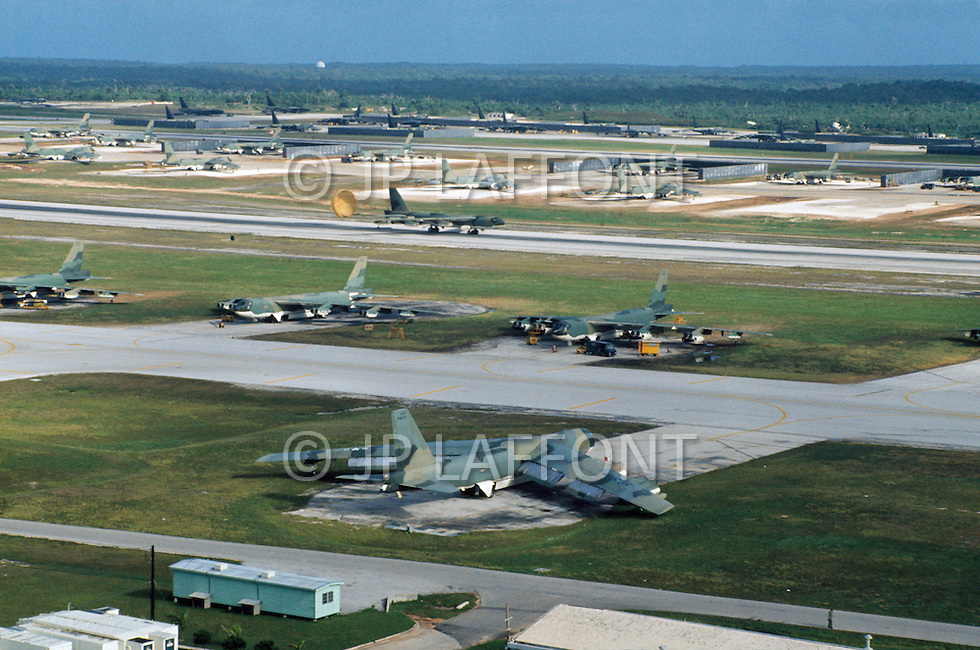 June 1972, Guam --- The Andersen Air Force Base on Guam Island from where the B-52 Stratofortress planes take off for Vietnam. --- Image by © JP Laffont/Sygma/Corbis