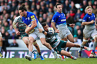 Mike Ellery of Saracens is tackled by Peter Betham of Leicester Tigers. Aviva Premiership match, between Leicester Tigers and Saracens on March 20, 2016 at Welford Road in Leicester, England. Photo by: Patrick Khachfe / JMP
