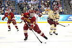 07 APR 2012:  Jordie Johnston (11) of Ferris State University skates down the ice against Boston College during the Division I Men's Ice Hockey Championship held at the Tampa Bay Times Forum in Tampa, FL.  Boston College defeated Ferris State 4-1 to win the national title.  Matt Marriott/NCAA Photos