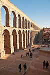 The Roman aqueduct in Segovia Spain runs right through the city of Segovia, Spain