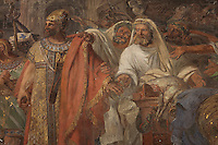 St Maurice and his companions refusing to offer sacrifices to false gods, detail, fresco, 1820-22, by Auguste Vinchon, 1789-1855, in the Chapelle de Sainte Jeanne d'Arc or the Chapel of St Joan Of Arc, in the church of Saint-Sulpice, built 1646-1870, in the 6th arrondissement of Paris, France. St Maurice was the leader of the legendary Roman Theban Legion in the 3rd century AD, a Christian legion who were executed and thus martyred by Maximian. Picture by Manuel Cohen