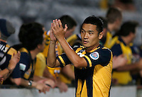Central Coast Mariners Kim Seung Yong during his AFC Champions League match against Japan's Sanfrecce Hiroshima in Gosford, near Sydney, March 11, 2014. VIEWPRESS/Daniel Munoz EDITORIAL USE ONLY