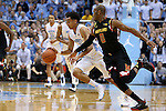 01 December 2015: Maryland's Rasheed Sulaimon (0) chases North Carolina's Marcus Paige (left). The University of North Carolina Tar Heels hosted the University of Maryland Terrapins at the Dean E. Smith Center in Chapel Hill, North Carolina in a 2015-16 NCAA Division I Men's Basketball game. UNC won the game 89-81.