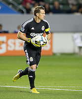 CARSON, CA - March 2, 2013: Chivas goalie Dan Kennedy (1) during the Chivas USA vs Columbus Crew match at the Home Depot Center in Carson, California. Final score, Chivas USA 0, Columbus Crew 3.