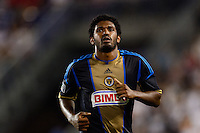 Sheanon Williams (25) of the Philadelphia Union. The New York Red Bulls and the Philadelphia Union played to a 0-0 tie during a Major League Soccer (MLS) match at Red Bull Arena in Harrison, NJ, on August 17, 2013.