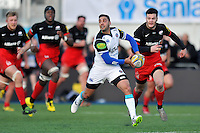 Dan Bowden of Bath Rugby looks to pass the ball. Aviva Premiership match, between Saracens and Bath Rugby on January 30, 2016 at Allianz Park in London, England. Photo by: Patrick Khachfe / Onside Images