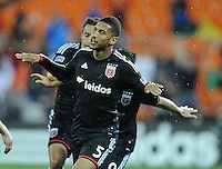 Washington D.C. - April 26, 2014:  Sean Franklin (5) of D.C. United celebrates his score in the 64th minute of the game. D.C. United defeated the FC Dallas 4-1 during a Major League Soccer match for the 2014 season at RFK Stadium.