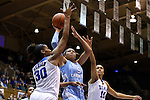 24 January 2016: North Carolina's Stephanie Watts (5) is defended by Duke's Amber Henson (30) and Azura Stevens (11). The Duke University Blue Devils hosted the University of North Carolina Tar Heels at Cameron Indoor Stadium in Durham, North Carolina in a 2015-16 NCAA Division I Women's Basketball game. Duke won the game 71-55.