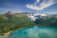Aerial of Pigot glacier, Pigot Bay, Chugach mountains, western Prince William Sound, Alaska