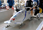 14 December 2006: Helen Upperton, from Canada, prepares to start a training run in preparation for the World Cup Bobsleigh Competition at the Olympic Sports Complex on Mount Van Hoevenburg  in Lake Placid, New York, USA.&amp;#xA;&amp;#xA;Mandatory Photo credit: Ed Wolfstein Photo<br />