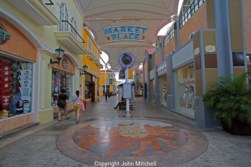 Interior of La Isla Shopping Village mall in the Zona Hotelera, Cancun, Quintana Roo, Mexico.