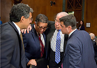 United States Senator Chuck Grassley (Republican of Iowa), Chairman, US Senate Committee on the Judiciary, right center, huddles with the three nominees who will appear before the Committee on their nominations to US Department of Justice positions on Capitol Hill in Washington, DC on Wednesday, May 10, 2017.  From left to right: Noel J. Francisco, Solicitor General of the US-designate; Makan Delrahim, Assistant Attorney General, Antitrust Division of the US Department of Justice-designate; Senator Grassley; and Steven A. Engel as Assistant Attorney General, Office of Legal Counsel, US Department of Justice-designate.<br /> Credit: Ron Sachs / CNP /MediaPunch