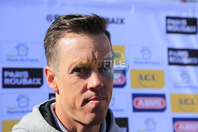 Last year's winner Mathew Hayman (AUS) Orica-Scott at the Team Presentation for the upcoming 115th edition of the Paris-Roubaix 2017 race held in Compiegne, France. 8th April 2017.<br /> Picture: Eoin Clarke   Cyclefile<br /> <br /> <br /> All photos usage must carry mandatory copyright credit (&copy; Cyclefile   Eoin Clarke)