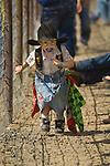 Junior rodeo clown Caseyn Pearson entertains the spectators at the Jordan Valley Big Loop Rodeo...