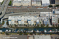 Aerial photograph Mission Bay residential house boats Islais creek San Francisco California