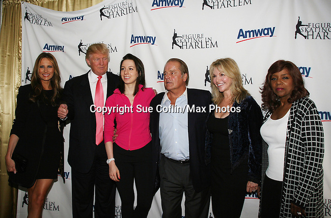 Melania & Donald Trump & Sarah Hughes & Rod Gilbert & wife & Gloria Gaynor at Skating with the Stars (celebrities & Olympic skaters), a benefit gala for Figure Skating in Harlem on April 6, 2010 at Wollman Rink, Central Park, New York City, New York. (Photo by Sue Coflin/Max Photos)