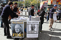 NEW YORK, NY - OCTOBER 24: Members of the LaRouche PAC, supporters of the ideas and ideology of Lyndon LaRouche outside of the Trump International Hotel    in New York, New York on October 24, 2016.  Photo Credit: Rainmaker Photo/MediaPunch