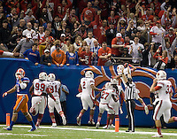 Terell Floyd of Louisville scores a touchdown during 79th Sugar Bowl game against Florida at Mercedes-Benz Superdome in New Orleans, Louisiana on January 2nd, 2013.   Louisville Cardinals defeated Florida Gators, 33-23.