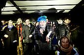 WARSAW, POLAND, December 31, 2016<br /> Anti-government demonstrators are spending New Year's Eve on the street by the Sejm, Polish parliament, which is occupied by the opposition MP's since December 17.<br /> The opposition objects to government plans to ban most of journalists from  covering parliamentary proceedings. The opposition MP's protest delayed a budget 2017 vote, which was later held away from the main parliament chamber and is now considered unlawful, which sparks further protest. The standoff has started December 17 and is bound to continue until the next parliamentary session scheduled for January 11.<br /> (Photo by Piotr Malecki / Napo Images)<br /> ****<br /> WARSZAWA, 24.12.2016. <br /> Nowy Rok, sylwester przed sejmem. Poslowie opozycji z partii PO i Nowoczesna pozostaja w sali planarnej Sejmu,  nie opuszczajac jej od 17/12 i planuja pozostanie do nastepnego posiedzenia 11 stycznia. Jest to dzialanie w obronie wolnosci mediow i przeciwko uchwaleniu budzetu przez partie rzadzaca w innej sali, bez obecnosci poslow opozycji. <br /> Fot. Piotr Malecki / Napo Images<br /> <br /> ###ZDJECIE MOZE BYC UZYTE W KONTEKSCIE NIEOBRAZAJACYM OSOB PRZEDSTAWIONYCH NA FOTOGRAFII### ###