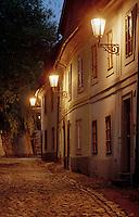 Streets at night in Prague, Czech Republic