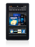 Amazon Kindle Fire tablet computer e-book reader with main screen on its display isolated on white background with clipping path