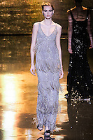 Irina Kulikova walks runway in a fog georgette gown, from the Badgley Mischka Fall 2011 fashion show, during Mercedes-Benz Fashion Week Fall 2011.