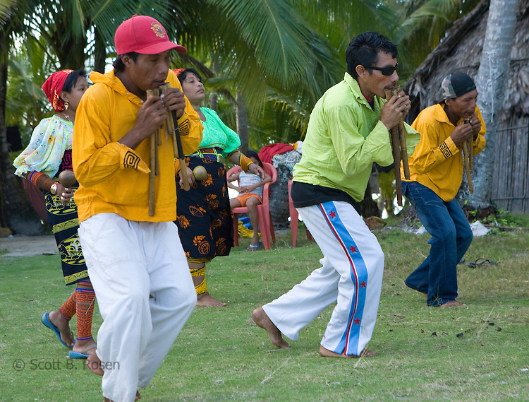 Local Kuna Indians practicing a traditional dance on Isla Pelikano, San Blas Islands, Panama