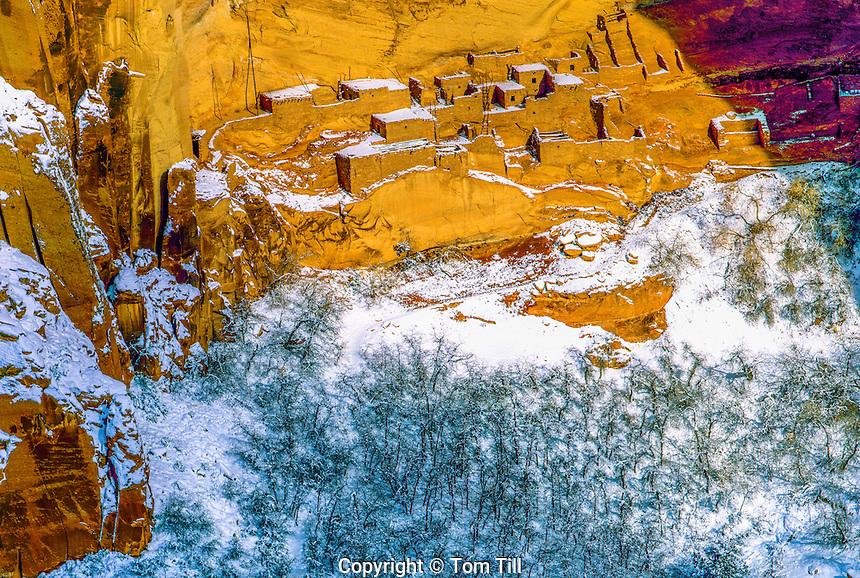 Snow at Betatakin Ruin, Navajo National MOnumnet, Arizona  Kayenta Anasazi ruins Gambel oak trees