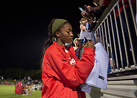 Boyds, MD - Saturday May 20, 2017: Cheyna Williams and fans during a regular season National Women's Soccer League (NWSL) match between the Washington Spirit and FC Kansas City at Maureen Hendricks Field, Maryland SoccerPlex.