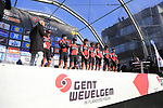 BMC Racing Team on stage before the start of Gent-Wevelgem in Flanders Fields 2017, running 249km from Denieze to Wevelgem, Flanders, Belgium. 26th March 2017.<br /> Picture: Eoin Clarke | Cyclefile<br /> <br /> <br /> All photos usage must carry mandatory copyright credit (&copy; Cyclefile | Eoin Clarke)