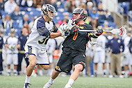Annapolis, MD - February 11, 2017: Maryland Terrapins Matt Rambo (1) is being defended by Navy Midshipmen Hiram Carter (32) during game between Maryland vs Navy at  Navy-Marine Corps Memorial Stadium in Annapolis, MD.   (Photo by Elliott Brown/Media Images International)