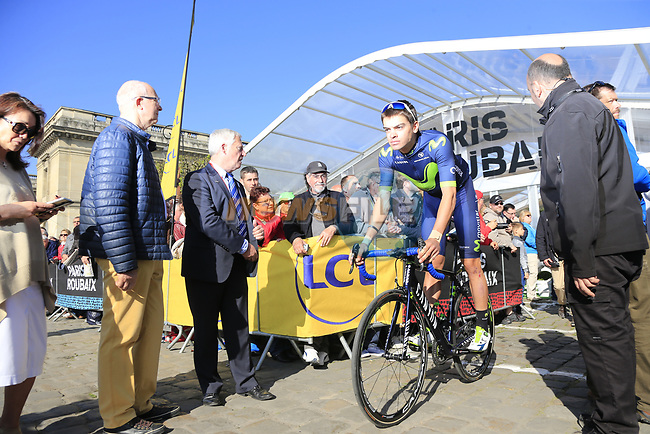 Nuno Miguel Bico (POR) Movistar Team at sign on for the 115th edition of the Paris-Roubaix 2017 race running 257km Compiegne to Roubaix, France. 9th April 2017.<br /> Picture: Eoin Clarke | Cyclefile<br /> <br /> <br /> All photos usage must carry mandatory copyright credit (&copy; Cyclefile | Eoin Clarke)