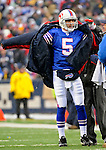 9 December 2007: Buffalo Bills rookie quarterback Trent Edwards dons a warmup coat on the sidelines during a game against the Miami Dolphins at Ralph Wilson Stadium in Orchard Park, NY. The Bills defeated the Dolphins 38-17. ..Mandatory Photo Credit: Ed Wolfstein Photo