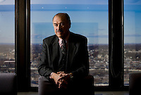 Lafayette Alum Edwin Landis stands in the conference room on the 25th floor of  his law firm Meyner and Landis LLP in Newark NJ  on wed, January 16th 2007..4217