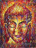 Interlitho, MODERN, MODERNO, paintings+++++,buddha head,KL4476,#n#
