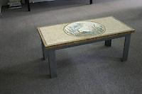 Egret custom table top in Travertine White, Thassos, Calacatta Tia, Carrara, Bardiglio, Nero Marquina, Giallo Reale, Emperador Dark, Spring Green, Verde Alpi, Verde Luna honed and pillowed