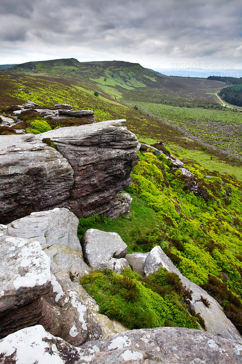 Looking toward Simonside from Dove Crag in the Simonside Hills near Rothbury Northumberland England