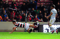 Freddie Burns of Leicester Tigers dives for the try-line in the second half. European Rugby Champions Cup match, between Leicester Tigers and Racing 92 on October 23, 2016 at Welford Road in Leicester, England. Photo by: Patrick Khachfe / JMP