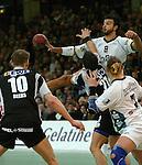 Handball Herren, 1.Bundesliga 2003/2004 Goeppingen (Germany) FrischAuf! Goeppingen - Wilhelmshavener HV (25:27) rechts oben Bruno (FAG) am Ball gegen Oliver Koehrmann (WHV)