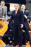 11 November 2013: Tennessee head coach Holly Warlick with assistant Dean Lockwood (right). The University of North Carolina Tar Heels played the University of Tennessee Lady Vols in an NCAA Division I women's basketball game at Carmichael Arena in Chapel Hill, North Carolina. Tennessee won the game 81-65.