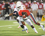 Ole Miss running back Jaylen Walton (6) returns a kickoff for a touchdown vs. Texas' Ryan Roberts (30) at Vaught-Hemingway Stadium in Oxford, Miss. on Saturday, September 15, 2012. Texas won 66-21. Ole Miss falls to 2-1.