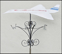 BNPS.co.uk (01202 558833)<br /> Pic DominicWinter/BNPS<br /> <br /> ***Please use full byline***<br /> <br /> A Concorde weather vane that Trubshaw put on his house. <br /> <br /> The supersonic archive amassed by legendary Concorde test pilot Brian Trubshaw during his flying career is being sold by his family.<br /> <br /> The collection made by the late airman who was the first to fly the famous turbo-jet in Britain in 1969, includes all his log books covering his 30 years service.<br /> <br /> He went on to put Concorde through its paces, criss-crossing the globe at twice the speed of sound before the plane entered commercial service six years later.<br /> <br /> The archive is being sold by Dominic Winter Auctioneers, Glocs. on November 7th.