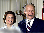United States President Gerald R. Ford, right, and first lady Betty Ford, left, after he was sworn-in as President at the White House in Washington, D.C. on August 9, 1974.  Ford was the first person to serve as President who had not been elected.<br /> Credit: Arnie Sachs / CNP