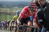 Tiesj Benoot (BEL/Lotto-Soudal) on top of the Paterberg<br /> <br /> 72nd Dwars Door Vlaanderen (1.UWT)<br /> 1day race: Roeselare &rsaquo; Waregem BEL (203.4km)