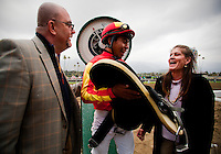 Jockey, Martin Garcia exits the scale after winning the 2012 San Vicente Stakes aboard Drill at Santa Anita Park in Arcadia California on February 19, 2012.