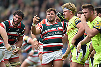 George McGuigan of Leicester Tigers looks on after a scrum. Aviva Premiership match, between Leicester Tigers and Sale Sharks on April 29, 2017 at Welford Road in Leicester, England. Photo by: Patrick Khachfe / JMP